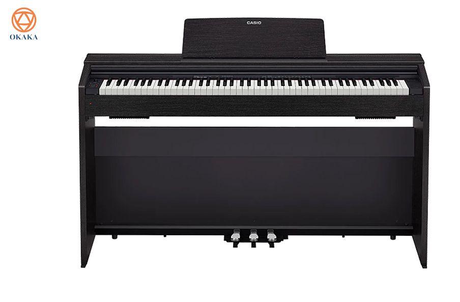 Với thiết kế tủ đứng phù hợp mọi không gian nội thất, hệ thống 3 pedal và bàn phím Hammer Action làm bằng ngà voi tổng hợp hứa hẹn mang lại âm thanh piano chân thực nhất, PX-870 quả thực có nhiều cải tiến hơn so với model PX-860 trước đây. Điều này có nghĩa là đàn piano điện Casio PX-870 mới ra mắt năm 2017 đang soán ngôi đàn piano điện đỉnh nhất của dòng Privia.