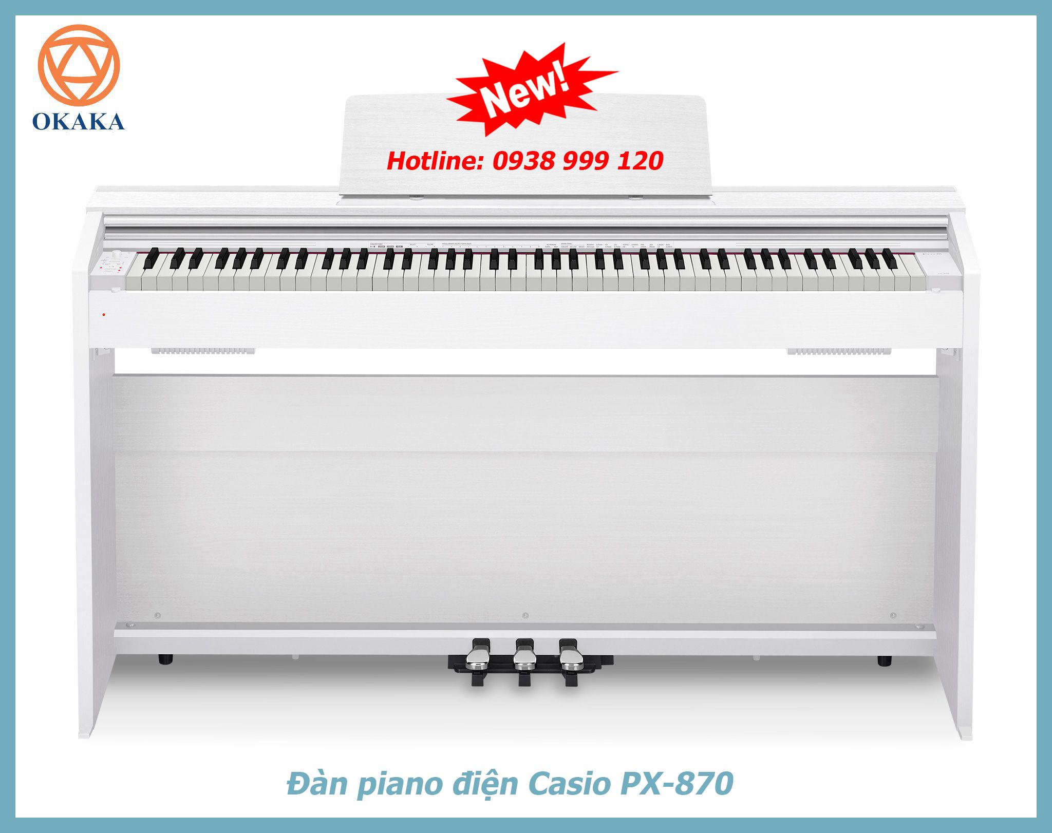 Tháng 9 năm 2017, Casio đã phát hành phiên bản mới nhất của dòng đàn piano điện Privia, đó là model PX-870. Được chế tạo dựa trên model có độ tin cậy và chất lượng đã được chứng minh – PX-860, đàn piano điện Casio PX-870 càng tuyệt vời hơn khi có thể mang lại âm thanh và cảm giác của một cây grand piano thật sự.
