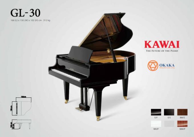 Đàn piano cơ Kawai GL-30 có đặc điểm âm thanh phong phú và tuyệt vời như một cây grand piano cổ điển lớn hơn trong một kích thước linh hoạt sẽ tô điểm bất kỳ ngôi nhà hoặc studio nào.