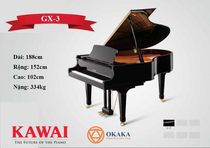 Đàn piano cơ Kawai GX-3 gây ấn tượng với âm thanh trang nhã và rõ ràng, đánh thức những đặc tính của một cây grand piano tuyệt vời hơn nhiều. Với âm thanh và độ nhạy phím nổi bật trong một kích thước linh hoạt, GX-3 là sự lựa chọn yêu thích của các nghệ sĩ chuyên nghiệp.