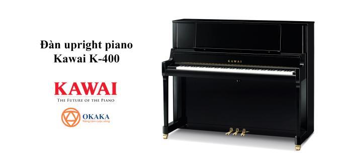 Đàn upright piano Kawai K-400 với chiều cao 122 cm độc đáo và hữu ích có giá nhạc được thiết kế theo kiểu grand piano giúp đặt bản nhạc trong tầm mắt và cung cấp một giá đỡ vững chắc cho các bản nhạc cũng như sách nhạc quá khổ. Nắp đàn hai bản lề càng tăng thêm sức hấp dẫn đặc biệt cho cây đàn.