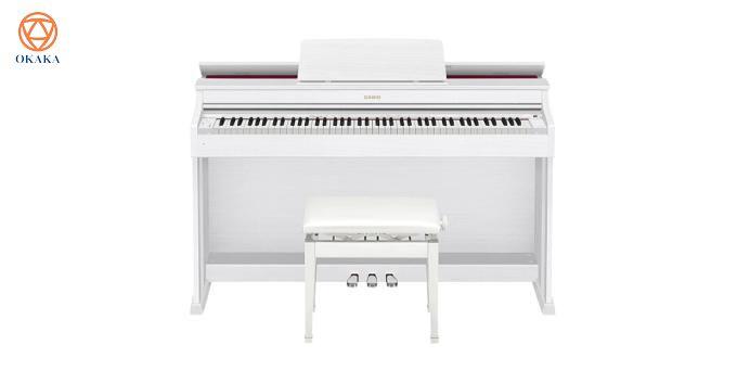 Kiểu dáng thiết kế thanh lịch với nắp đàn có thể nâng lên hạ xuống cùng nhiều tính năng và hiệu ứng thú vị, đàn piano điện Casio AP-470 dòng Celviano mới ra mắt sẽ mang đến cho bạn trải nghiệm như chơi trên đàn piano cơ!
